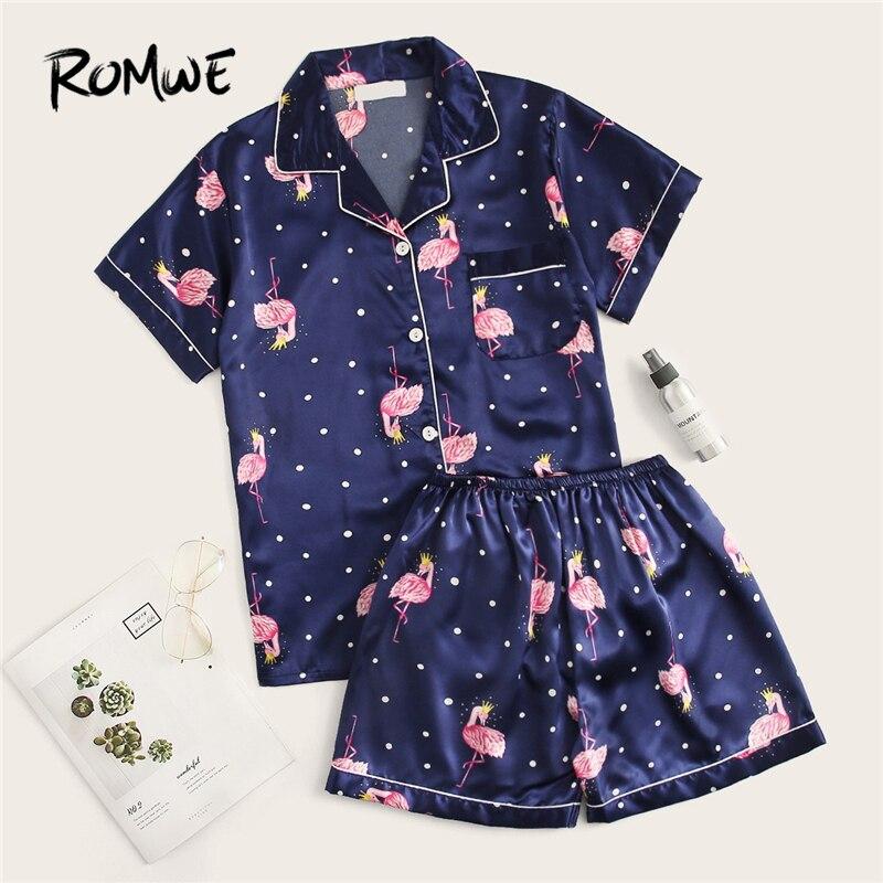 ROMWE Navy Flamingo Print Polka Dot Satin   Pajama     Set   Women Summer 2019 Button Pocket Short Sleeve Casual Nightwear Short   Sets