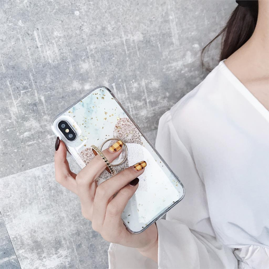 Kickstand Funda Glitter Love Heart Marble Phone Case for iphone X XS Max Xr 6 6S 7 8 Plus 10 Cover Soft TPU Bling Sequins Capa in Fitted Cases from Cellphones Telecommunications