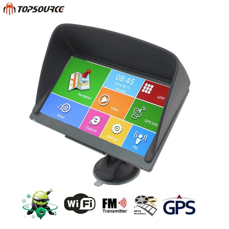 TOPSOURCE 7'' Car GPS Android Navigation Capacitive Screen 8GB 800MHZ Navitel/Europe/USA/Canade Map Truck GPS +GPS Sunshade