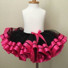 Girls skirt Tulle Chiffon And Ribbon Fabric Pettiskirt Fit 0-8 years old kids Birthday Princess and Party Tutu Skirt