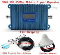 LCD Display GSM CDMA 980 850Mhz Signal Booster Repeater Amplifier Coverage 2000 Sqm 9 Units Yagi