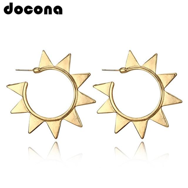 Docona Punk oro Color sol Metal Stud pendiente para mujeres círculo abstracto geométrico Piercing Studs pendientes Brincos 4378