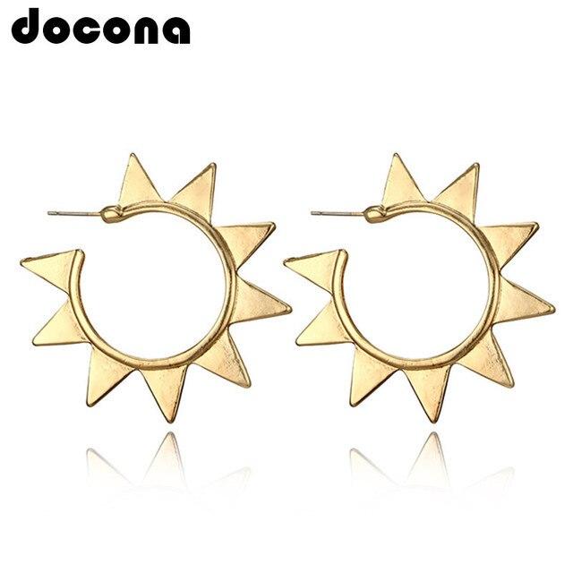 Docona oro Color sol Metal aretes para las mujeres círculo abstracto geométrico Piercing pendientes Brincos 4378