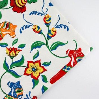 150 см x 0,5 м лошадь мультфильм печати лоскутное Лен Хлопок Ткань DIY скатерть коллекции плотная занавес материал