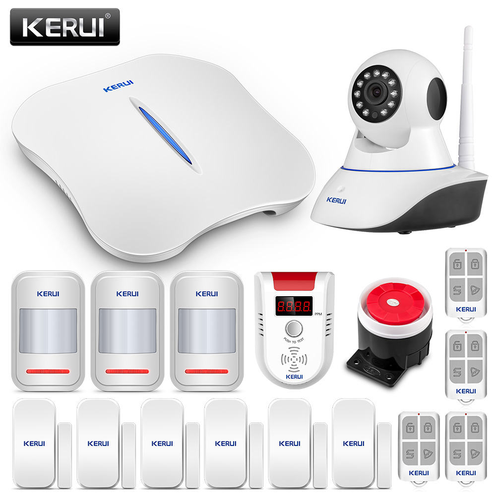 Frank Kerui W1 Wifi Hause Einbrecher Alarm Systeme Mit Gas Detektor Alarm Und Wifi Ip Kamera Motion Detektor Home Security Alarm Sicherheitsalarm Alarm System Kits