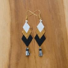 Shinus 5 Pairs/lot Miyuki Earrings Black Gold Gaia Women Earrings Bohemia Woven Miyuki Glass Beads Tassel Handmade jewelry Gifts