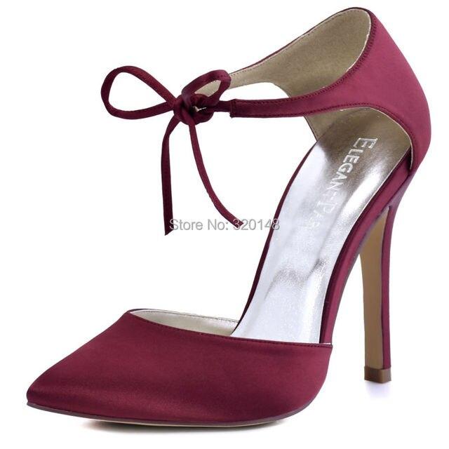 Woman Shoes Burgundy  High Heel Prom Pumps Ankle Strap Ribbon Tie Satin Bride Bridesmaids Wedding Bridal Evening Shoes HC1610