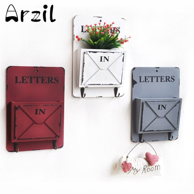 Wooden Box With Key Hooks Wall Storage Vintage Letter Holder ...