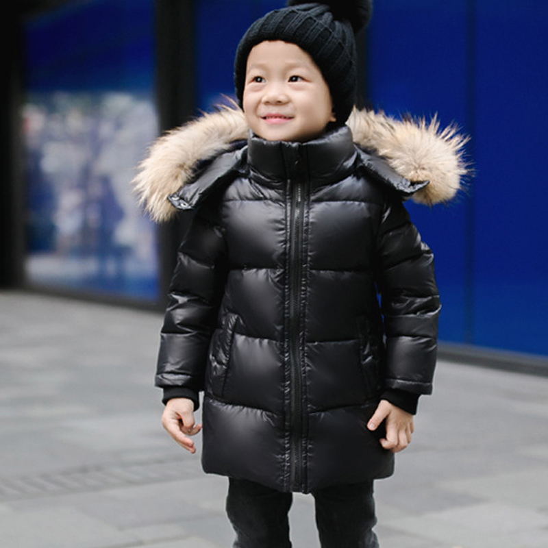 Boys /Girls down jacket Hooded Fur collar Children Cotton Jacket Warm Fashion Parkas Winter Kids Jacket Zipper cotton Coat 2-12Y children winter coats jacket baby boys warm outerwear thickening outdoors kids snow proof coat parkas cotton padded clothes