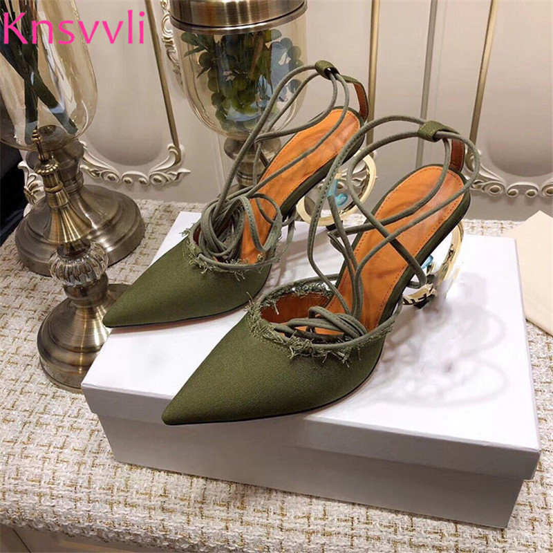 New Runway Strange Style High heels Women Pumps Red Blue Hemp Cloth Ankle Cross Lace up Sandals Round Pendant Heels Shoes Woman