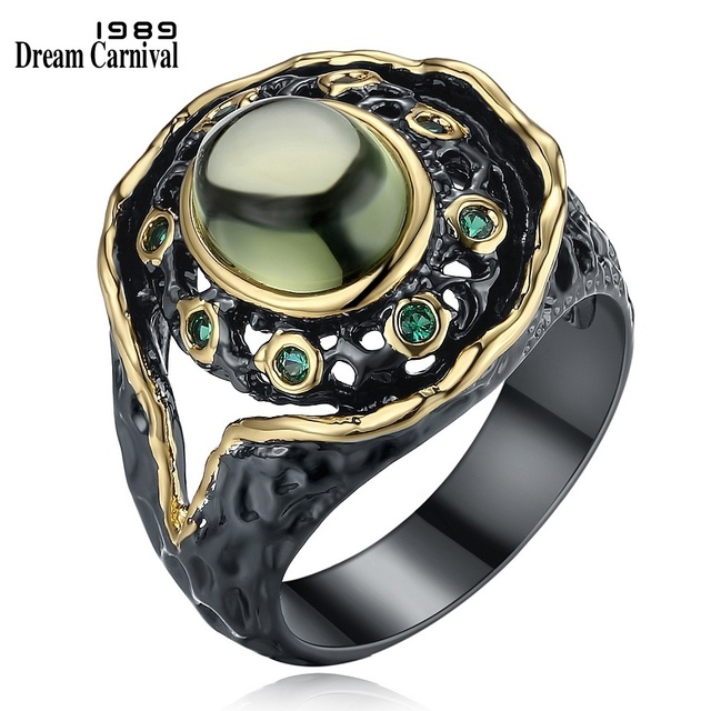 DreamCarnival 1989 Neo-Gothic Round Green Zirconia Vintage Ring for Women Black