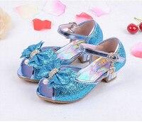 Nuove Ragazze Sandali Degli Alti Talloni Dei Bambini Della Principessa di Modo Cuoio Estate Elsa Scarpe Chaussure Enfants Fille Sandalias Nina
