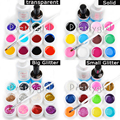 12 Colores hexagonal Transparente Glittery Sólido Puro GEL UV Constructor + 14 ml Capa Superior + Nail ART Brush + Limpiador Plus Set Consejos Kit