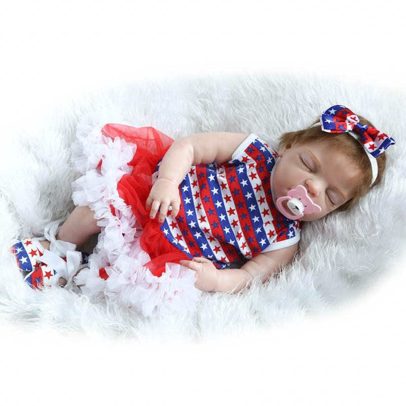 55cm Full Silicone Reborn Baby Sleeping Girl Doll Toy Lifelike Newborn Toddler Babies Alive Bebe Doll Girls Bonecas Bathe Toy npkcollection full silicone reborn baby doll toy lifelike 55cm newborn boy babies doll lovely birt hday gif t for girl bathe toy