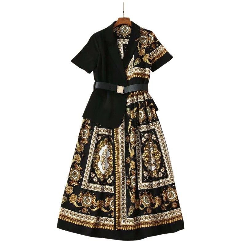 Kleidung frau sommer 2019 blazer kleid vintage print patchwork große größe frauen kleid kerb kragen midi damen arbeiten kleid-in Kleider aus Damenbekleidung bei  Gruppe 1