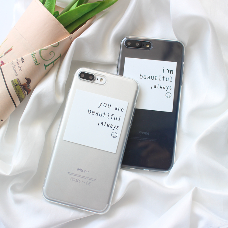 Galleria fotografica Fashion Clear TPU Case for iphone X XR XS XS Max love Quotes painted Case For iphone 6 6s 6plus Soft back cover