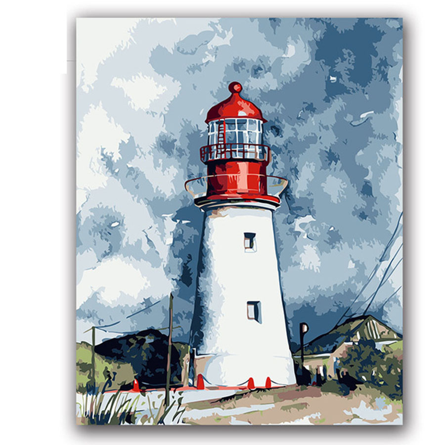 Lighthouse Defend Picture Painting By Numbers Seascape Landscape building with kits package On Canvas Draw coloring by numbers