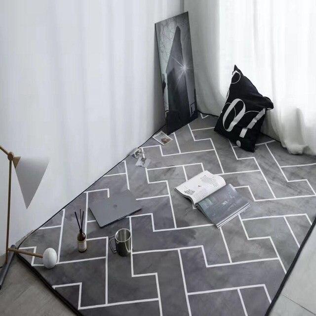 Online Shop Europese stijl grijs kleur streep karpetten slaapkamer ...