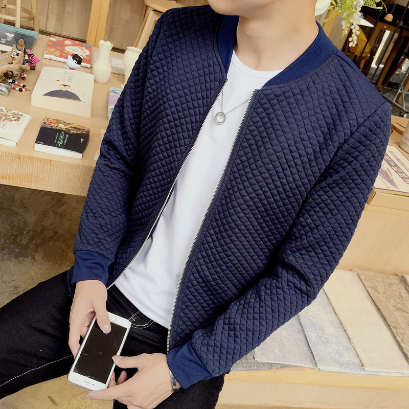 2017 New Arrival Spring Autumn High Fashion Men Casual Slim Fit Solid Zipper Bomber Jackets Black/Navy/Gray Free shipping M-5XL