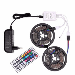 Tira LED RGB impermeable 5050 DC12V Tira de luz LED Tira 5 m 10 m neón LED cinta Flexible Ledstrip con controlador y adaptador de 12 V