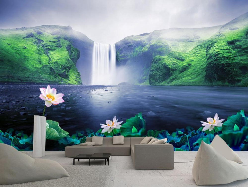 Farmhouse style 3d Wall paper Waterfall lotus 3d Wall Murals Sofa Living Room Background Wall 3d-landscape-wallpaper the latest 3d murals dream of the sun exposure forest trees stone waterfall scenery living room tv sofa bedroom wall paper
