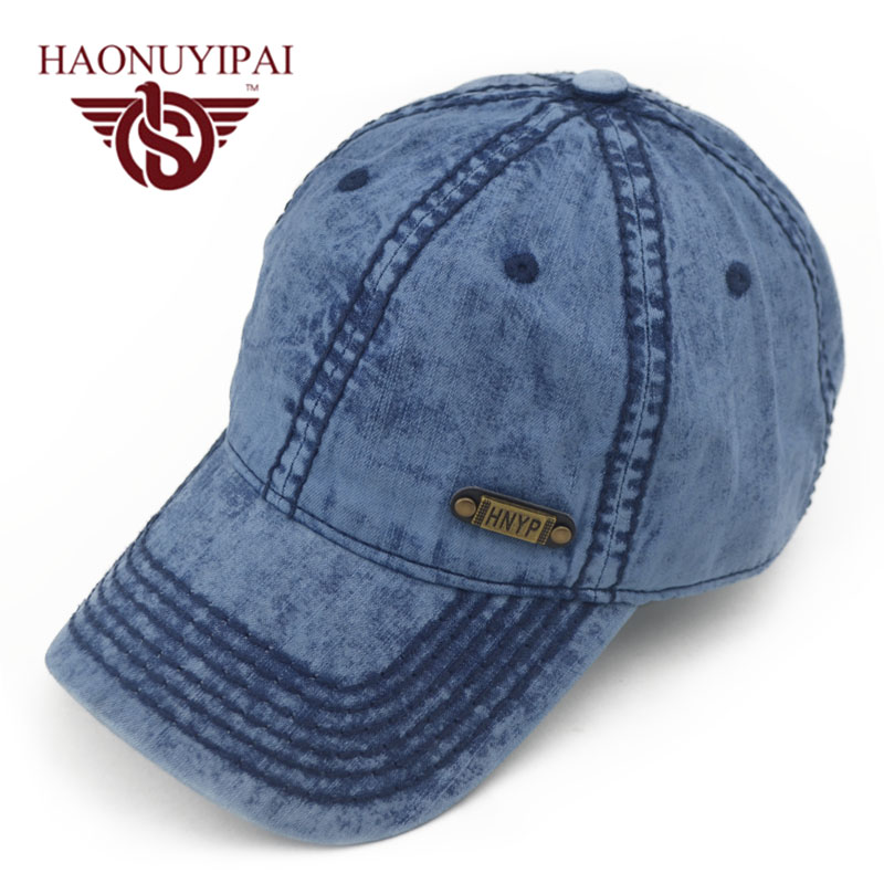 Hot Sale Mens Baseball Caps Brand Womens Jeans Denim Hats Blue Adjustable Adult Bone Snapback ...