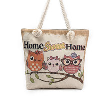 Cartoon Animal Print Owl Embroidered Canvas Shoulder Bags Floral Fabric Handbags For Women Big Shopping Bag