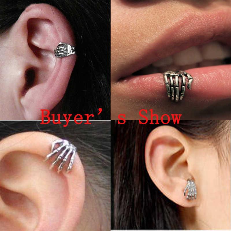 1 Pcs 16G Punk Skull Bentuk Iblis Tangan Plam Kylie Cincin Bibir Tindik Pejantan Cincin Perhiasan Skeleton Stud