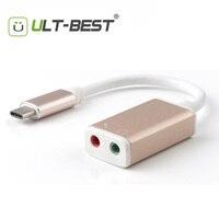 ULT-Beste USB Typ C zu Audio JackType C USB-C Externe Audio Stereo Sound Adapter mit 3,5mm Lautsprecher/Kopfhörer und Micro