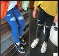 2016 весной новой Корейской версии родитель-ребенок модели мальчики и девочки отверстие джинсы удобные мягкие личности дикий прилив