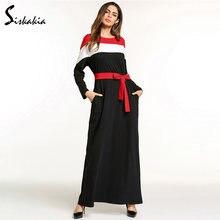 60a5fc8836 Siskakia bloque de color de moda Vestido de manga larga de primavera y  otoño 2018 caftán árabe ropa Casual para mujeres maxi ves.