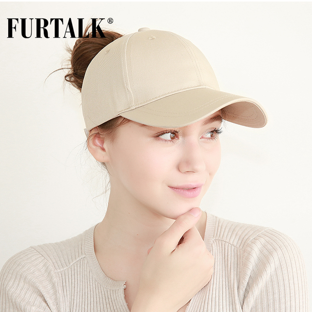 98adb0681ee FURTALK New Arrivals Ponytail Baseball Cap Women Messy Bun Baseball Hat  Snapback HTPU007