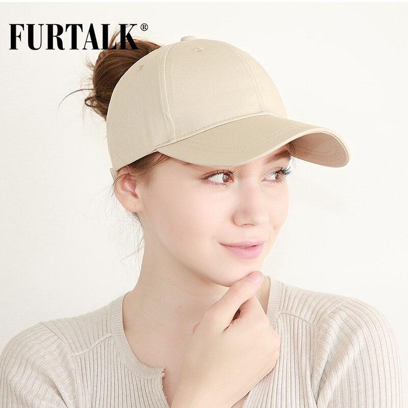 FURTALK New Arrivals Ponytail   Baseball     Cap   Women Messy Bun   Baseball   Hat Snapback HTPU007