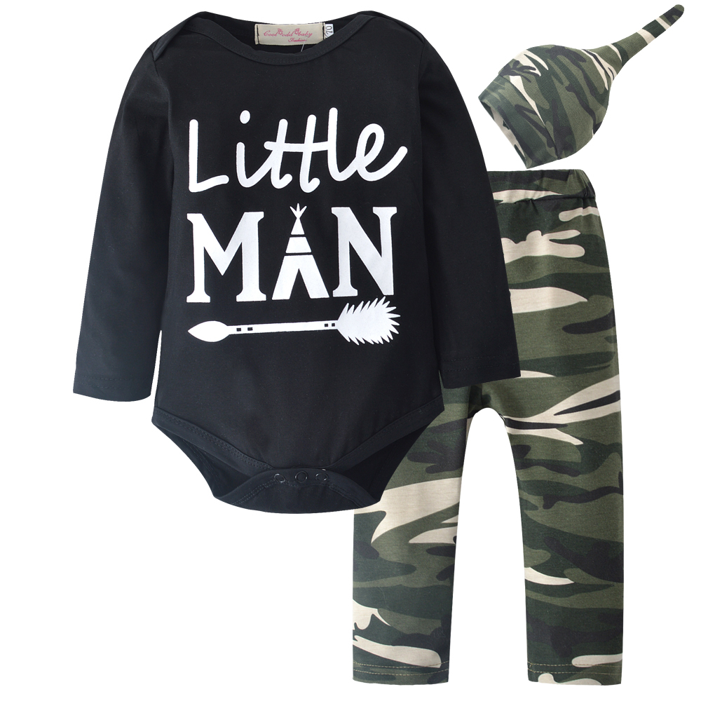 New 2018 Autumn Newborn Baby Boys Clothes Long Sleeve Romper Tops+Camouflage Pants+Hat 3pcs Outfits Set Infant Clothing