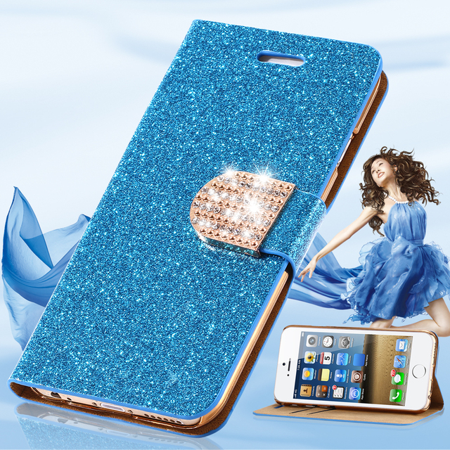 Fashion Glitter Bling Diamond Flip Leather Case For iPhone 7 For iPhone 7  Plus Fashion Accessories Cover Card Slot Wallet Bag i7 9661d0a58f