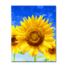 Framework DIY Oil Painting By Numbers Kits Coloring Hand Paint Blue Sky Sunflowers Pictures On Canvas Home Decor For Living Room