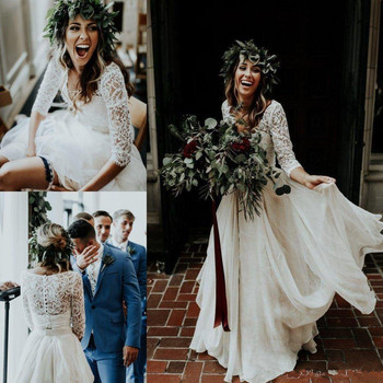 Beautiful Long Sleeve A-Line Two Pieces Beach Country Wedding Dresses 2020  Chiffon Ruffles Lace Top Boho Custom Made Bohemian 1