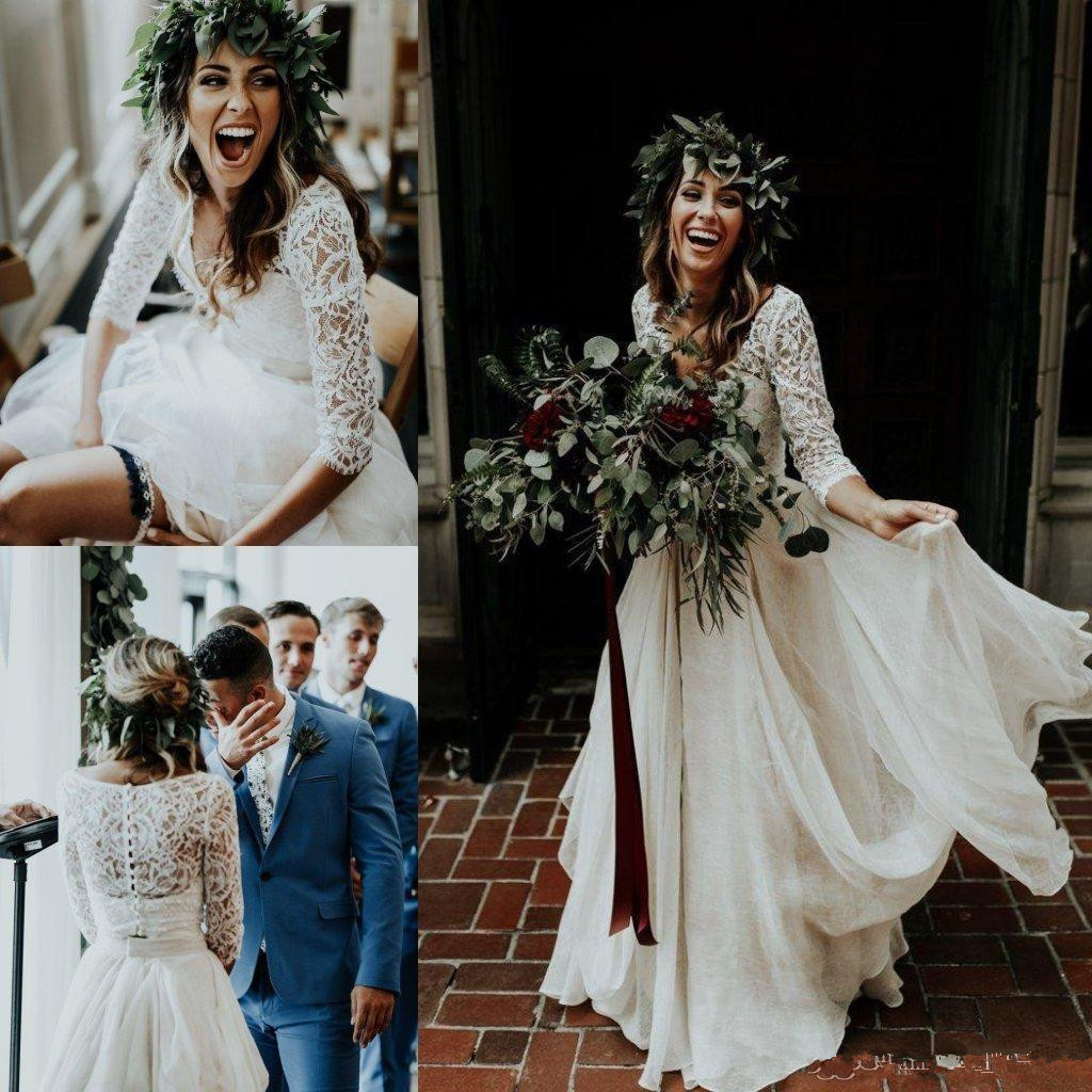 Beautiful Long Sleeve A-Line Two Pieces Beach Country Wedding Dresses 2020  Chiffon Ruffles Lace Top Boho Custom Made Bohemian