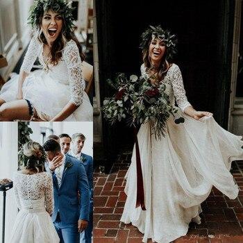 아름다운 긴 소매 a 라인 두 조각 비치 컨트리 웨딩 드레스 2020 쉬폰 프릴 레이스 탑 Boho 맞춤 제작 보헤미안
