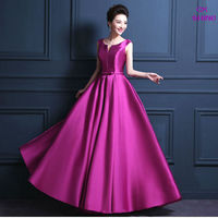 Cheap Custom Size 100 Colors V Neck Bow Belt Long Evening Dress Invisible Pocket Praty Dresses