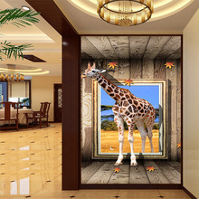Custom giraffe animal 3D photo wallpaper for living room corridor home screen wall decor