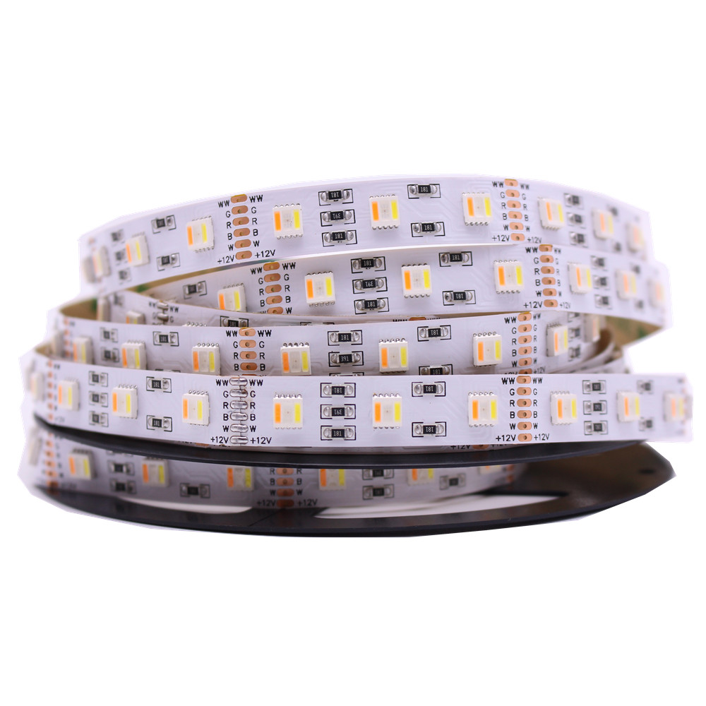 Neuheiten RGB + CCT LED Streifen 5050 60led/meter 12 v/24 volt 5 in 1 chips LED CW + RGB + WW flexible streifen Weiß PCB