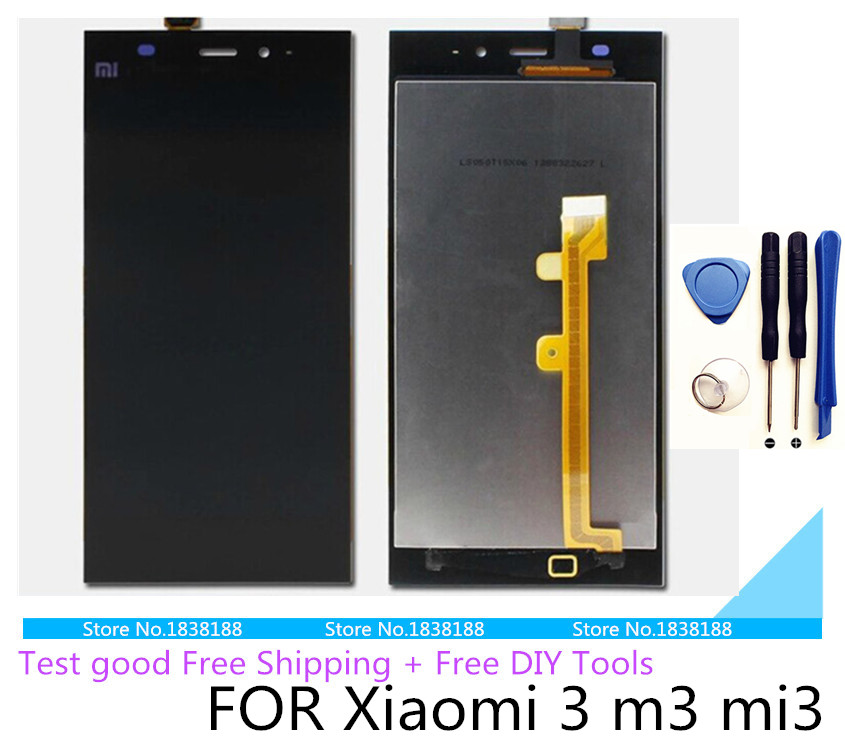 Free tools 100% Original Repair Parts xiaomi 3 LCD Display Touch Screen Digitizer For Replacement mi3 cellphone Display Assembly