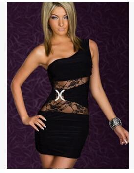 Us 1006 15 Offsexy Erotic Sheath Mini Dress One Shoulder Lace Sexy Hot Night Club Dress Backless Bodycon Women Dress Vestidos Femininos Ab191 In
