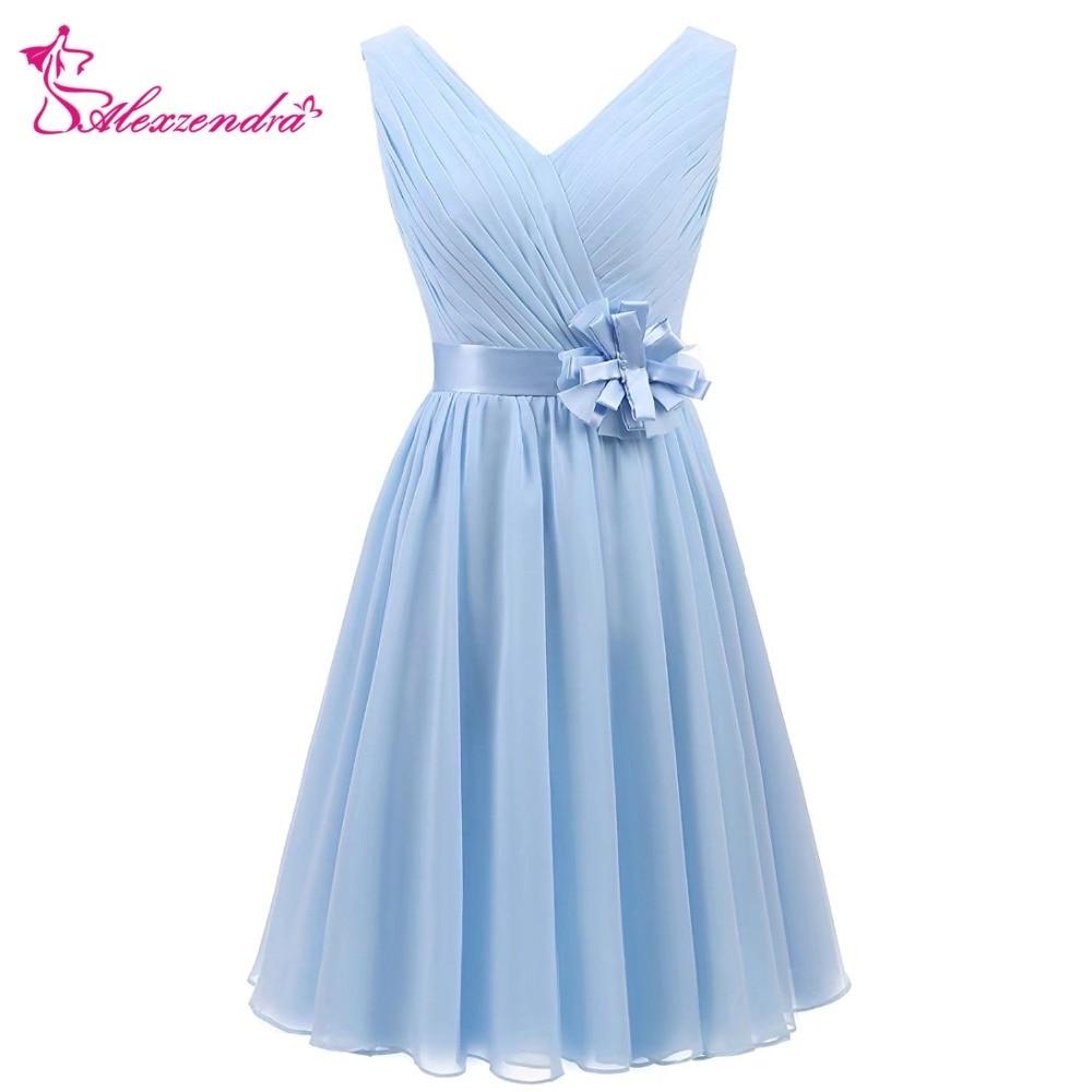 Alexzendra A Line Short Cheap Bridesmaid Dress For Wedding V Neck