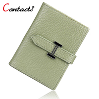CONTACT S Genuine Leather Short Women Card Holder Multiple Colour Korean Casual Mini Card Bag Famous