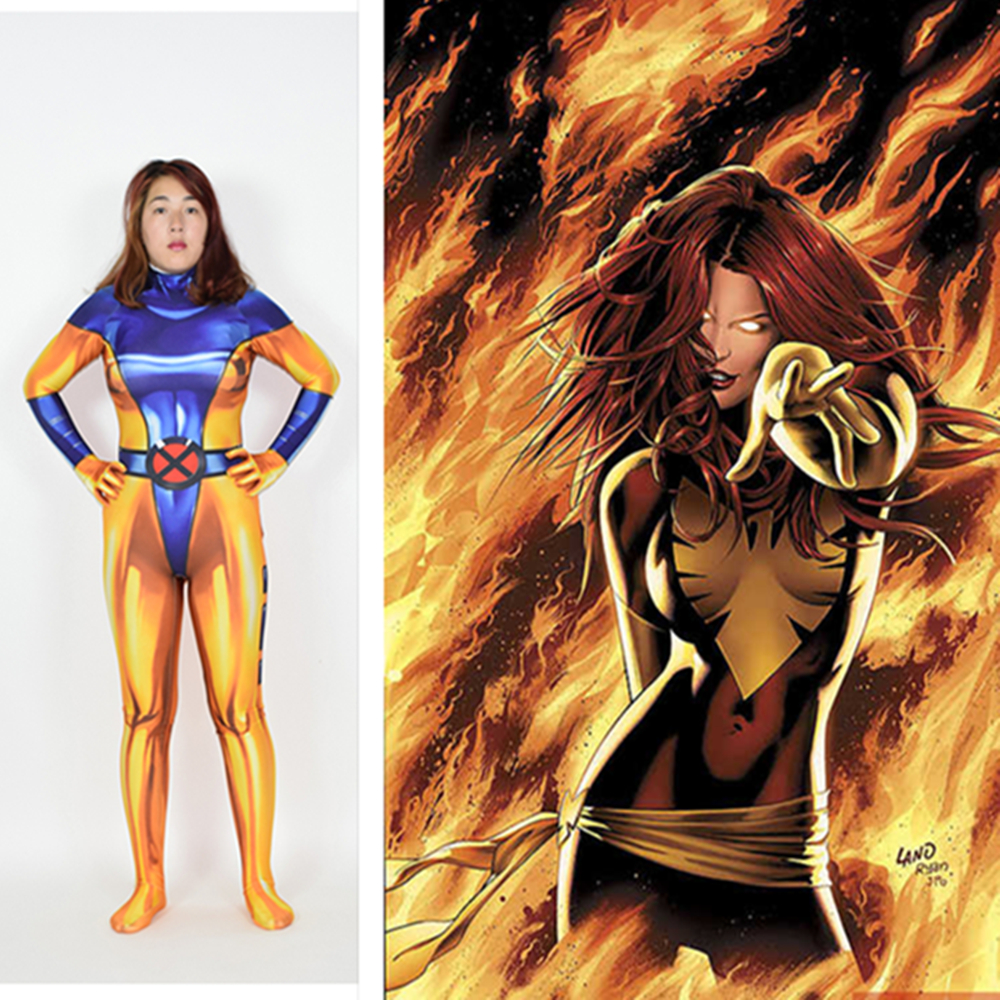 X-Men: Days of Future Past Phoenix Costumes Marvel Girl Jean Grey Jumpsuits Cosplay 3D Printing Lightning M's Tights Halloween