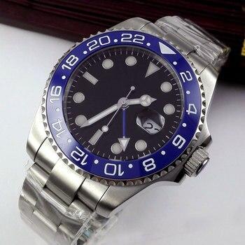 43mm Bliger Black Dial Blue Marks Sapphire Glass GMT ceramic bezel Luminous Top Brand Luxury Automatic Movement men's Watch