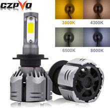 CZPVQ Car Headlight H7 LED H11 H4 H1 H3 H8 H9 9005 9006 880 881 H13 9004 9007 3000K 4300K 6500K 8000K LED Bulb Auto Fog Light(China)
