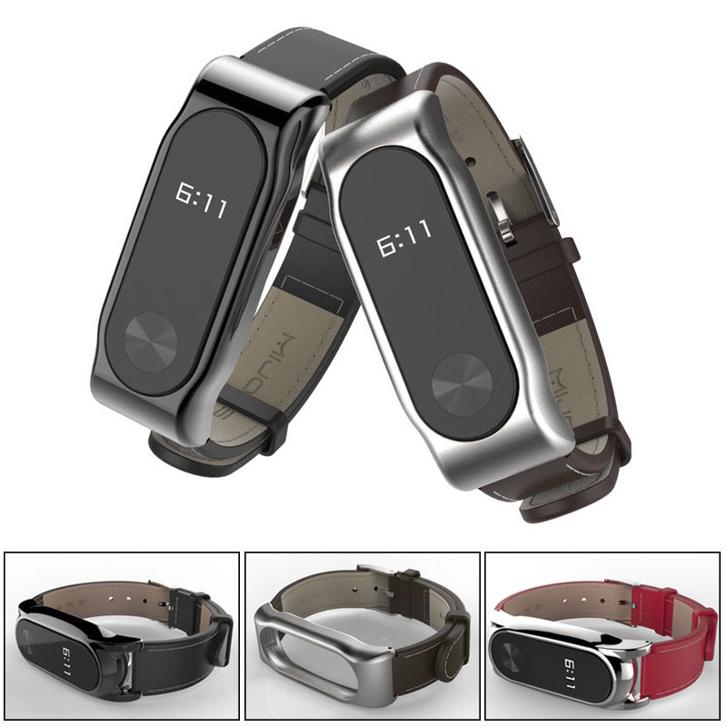 For Xiaomi Miband 2 Mijobs PU Leather Strap For Mi Band 2 Wrist Strap Smart Bracelet Steel Metal Frame And Leather Wristband